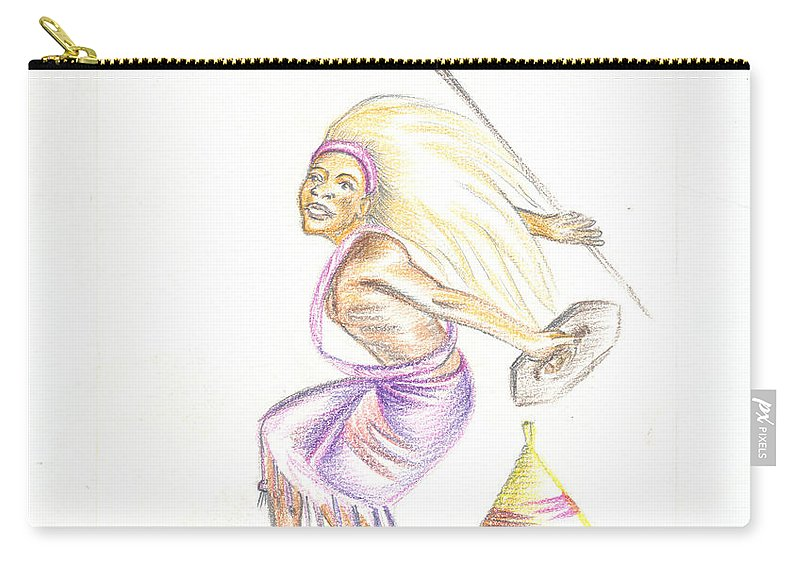 Barry Art Carry-all Pouch featuring the painting Intore Dance 2 From Rwanda by Emmanuel Baliyanga