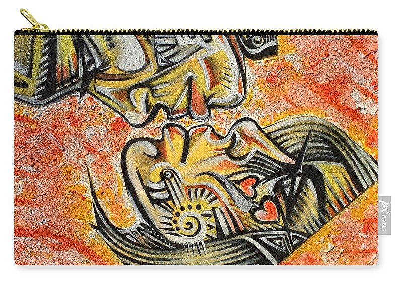 Ria Carry-all Pouch featuring the painting Intricate Intimacy by Artist RiA