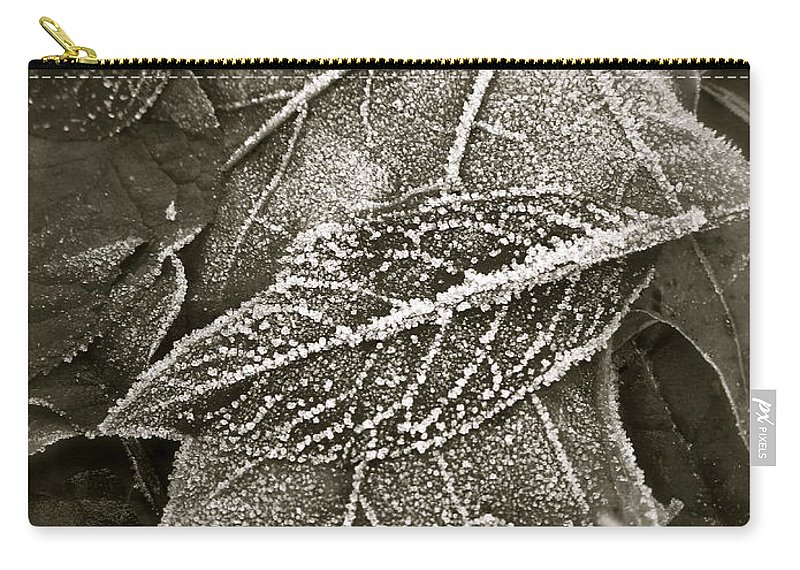 Leaf Carry-all Pouch featuring the photograph Intricately Frosted by Gwyn Newcombe