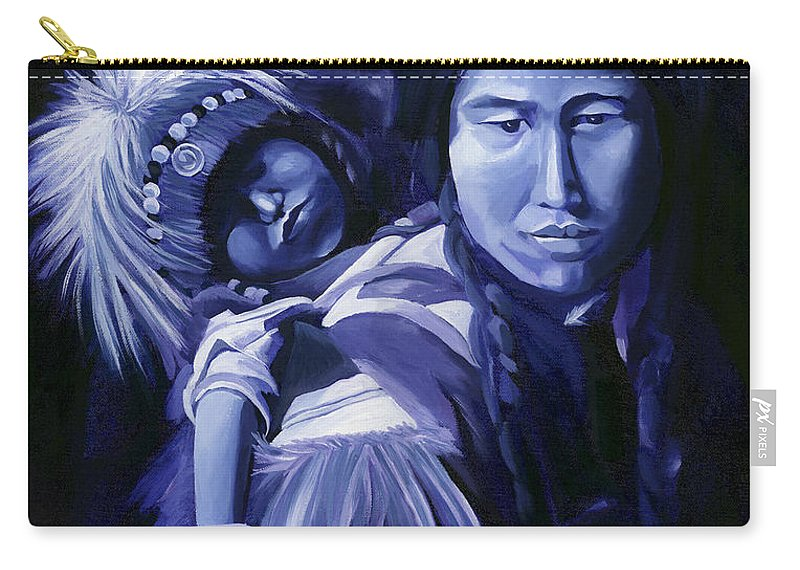 Native American Carry-all Pouch featuring the painting Inuit Mother And Child by Nancy Griswold