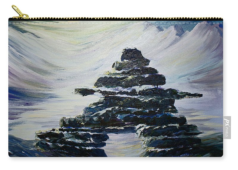 Inukshuk Northern Hemisphere Carry-all Pouch featuring the painting Inukshuk by Joanne Smoley