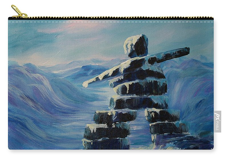 Inukshuk In Northern Canada Carry-all Pouch featuring the painting Inukshuk My Northern Compass by Joanne Smoley