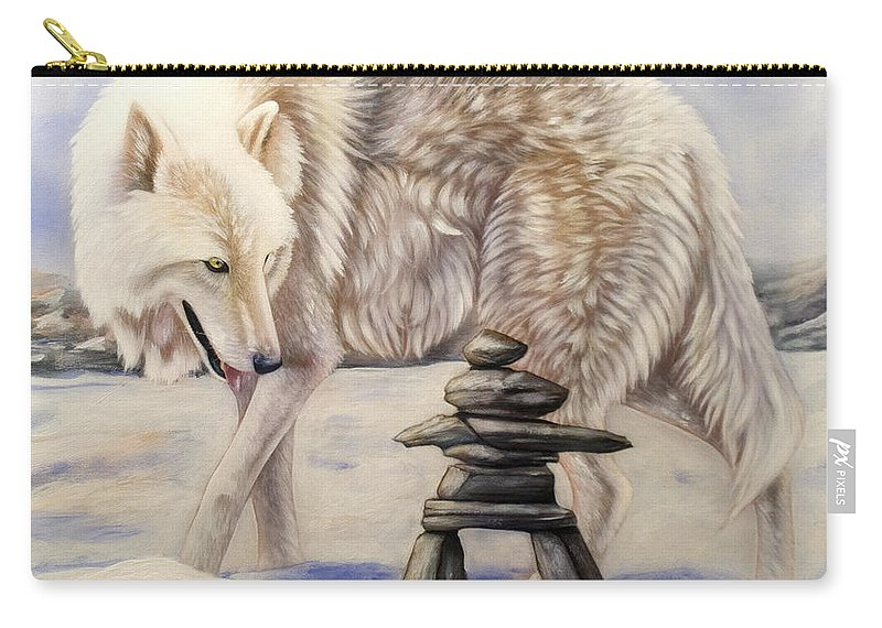 Acrylic Carry-all Pouch featuring the painting Inuksuk by Sandi Baker