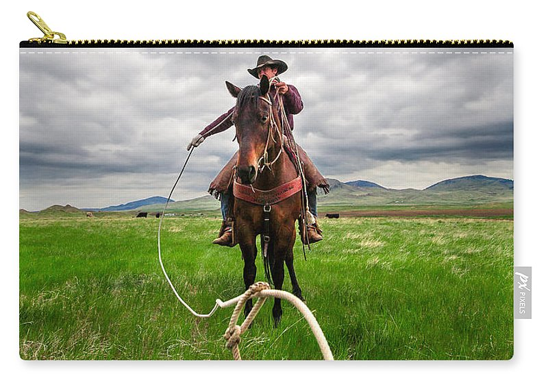 Cowboy Carry-all Pouch featuring the photograph Invisible Calf by Todd Klassy