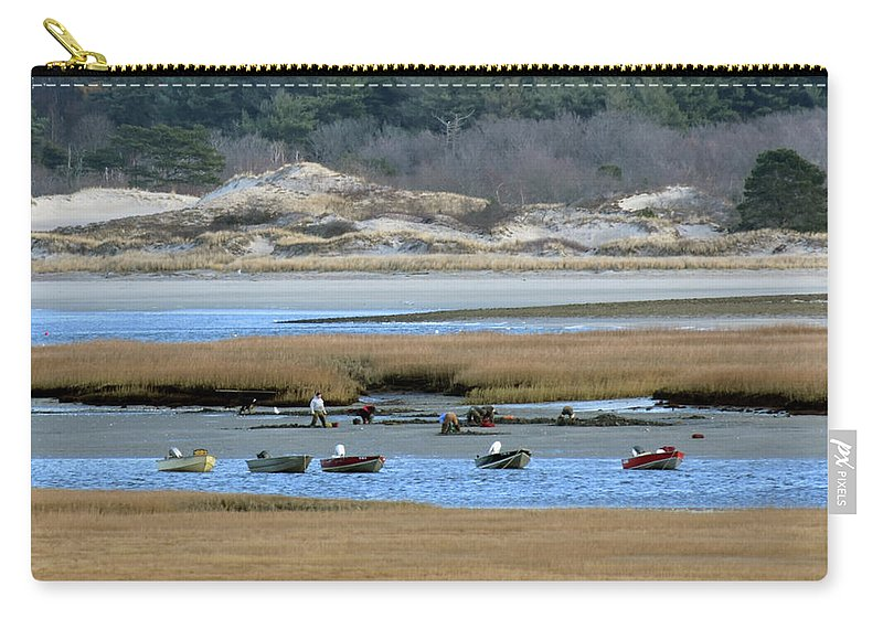 Ipswich River Clammers Salt Marsh Sand Dunes Nature Carry-all Pouch featuring the photograph Ipswich River Clammers by Gary Gibson