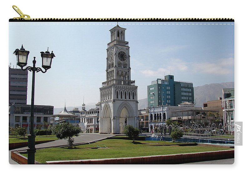 Iquique Carry-all Pouch featuring the photograph Iquique Chile Plaza by Brett Winn