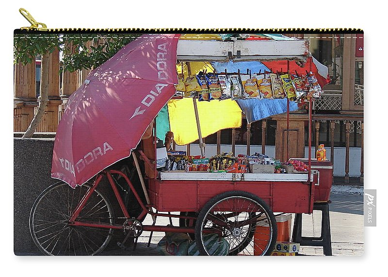 Iquique Carry-all Pouch featuring the photograph Iquique Chile Street Cart by Brett Winn