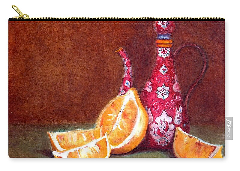 Lemons Carry-all Pouch featuring the painting Iranian Lemons by Portraits By NC