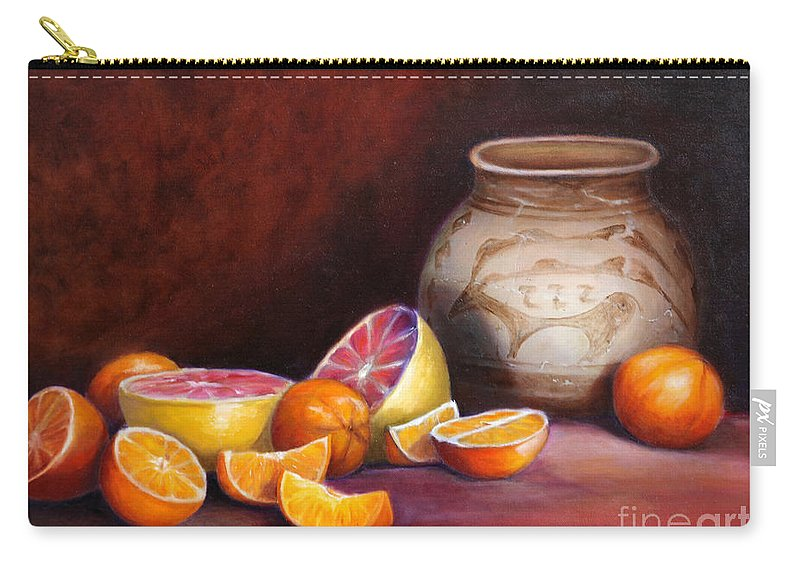Still Life Paintings Carry-all Pouch featuring the painting Iranian Still Life by Portraits By NC