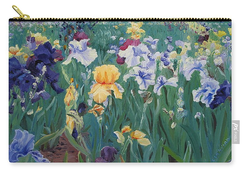 Flower Carry-all Pouch featuring the painting Iris Abun-dance by Lea Novak