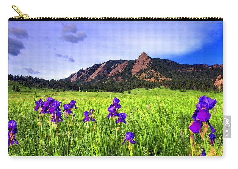 Flatirons Carry-all Pouch featuring the photograph Iris And Flatirons by Scott Mahon