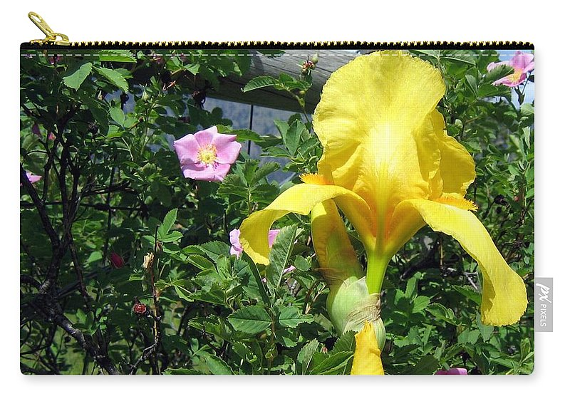 Iris Carry-all Pouch featuring the photograph Iris And Wild Roses by Will Borden