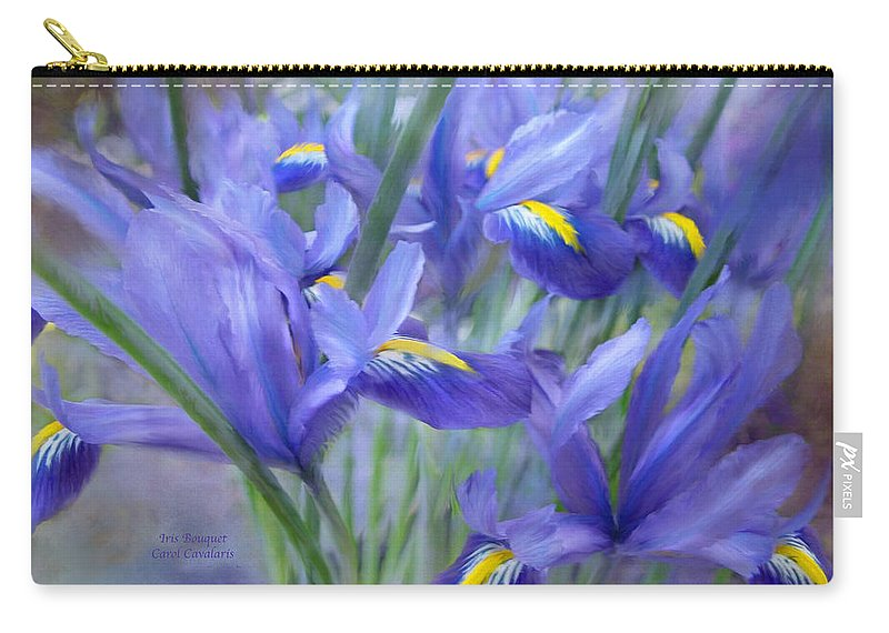 Iris Carry-all Pouch featuring the mixed media Iris Bouquet by Carol Cavalaris