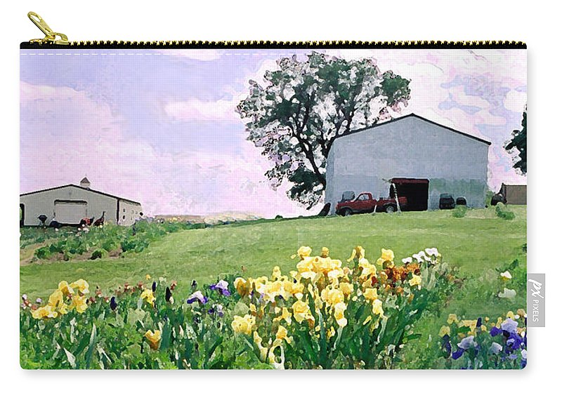 Landscape Painting Carry-all Pouch featuring the photograph Iris Farm by Steve Karol