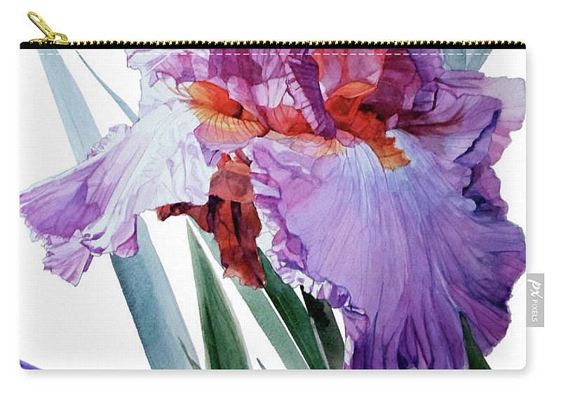Watercolor Carry-all Pouch featuring the painting Watercolor Of A Tall Bearded Iris In Pink, Lilac And Red I Call Iris Pavarotti by Greta Corens