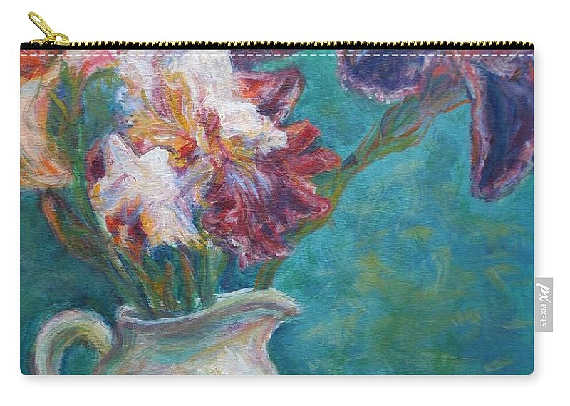 Impressionist Carry-all Pouch featuring the painting Iris Medley - Original Impressionist Painting by Quin Sweetman