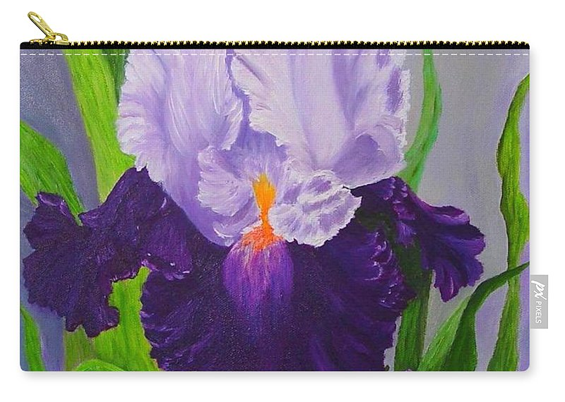 Floral Painting Carry-all Pouch featuring the painting Iris by Peggy Holcroft