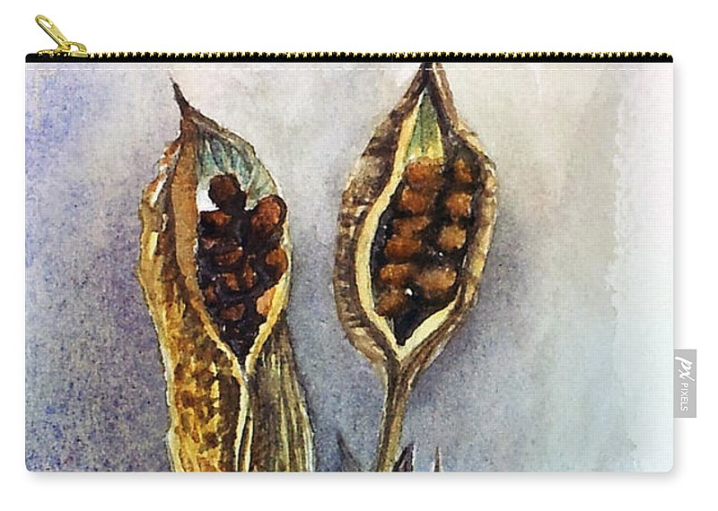 Iris Seeds Carry-all Pouch featuring the painting Iris Pods Small by Kathy Sturr