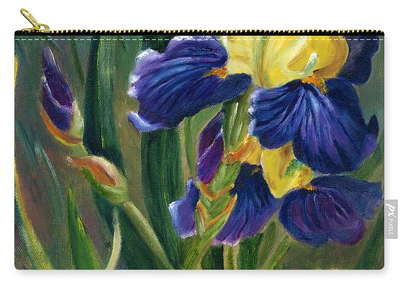Iris Carry-all Pouch featuring the painting Iris by Renate Nadi Wesley