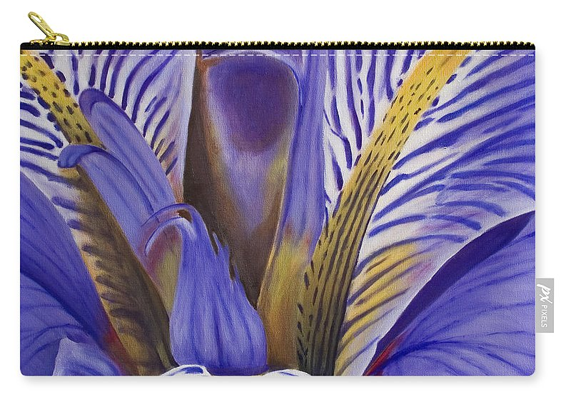 Flower Carry-all Pouch featuring the painting Iris by Rob De Vries