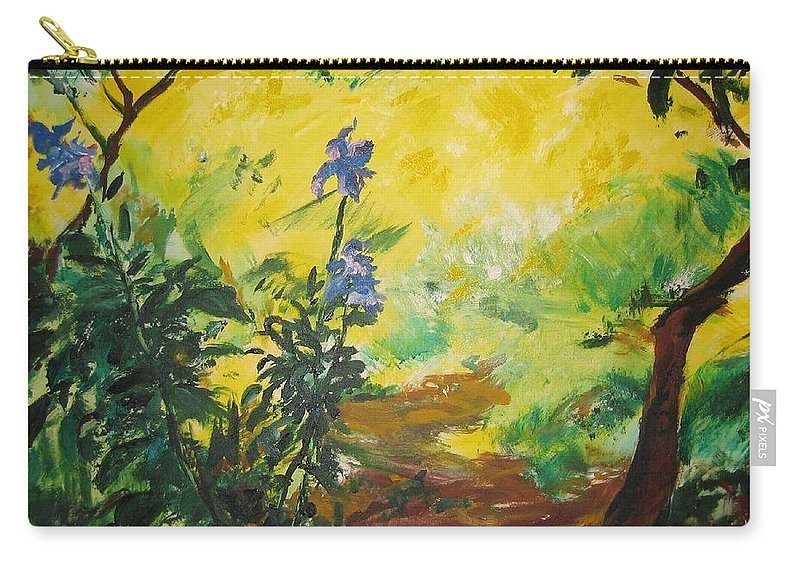 Sunlight Carry-all Pouch featuring the painting Irises And Sunlight by Lizzy Forrester