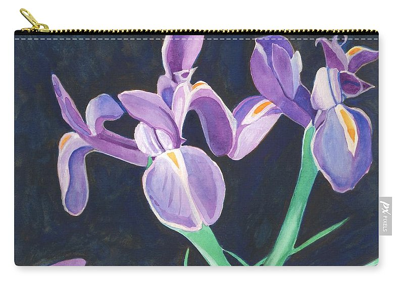 Iris Carry-all Pouch featuring the painting Irises by Helena Tiainen