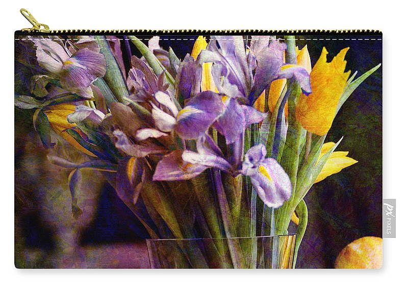Purple Carry-all Pouch featuring the digital art Irises In A Glass by Barbara Berney
