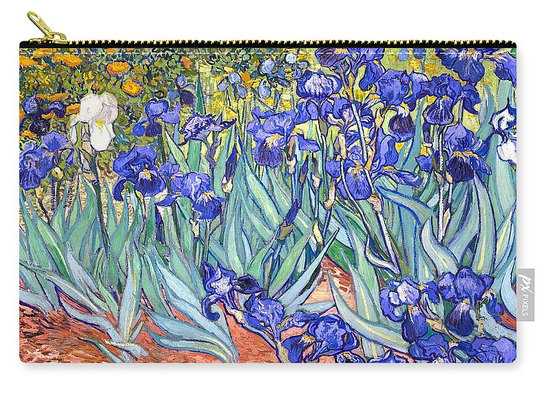 Van Gogh Carry-all Pouch featuring the painting Irises by Van Gogh