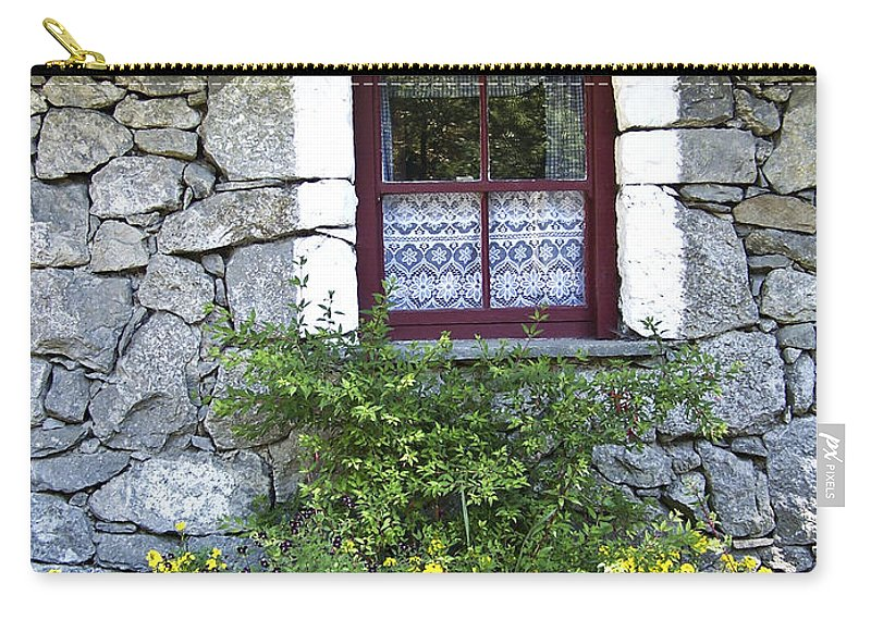Irish Carry-all Pouch featuring the photograph Irish Cottage Window County Clare Ireland by Teresa Mucha