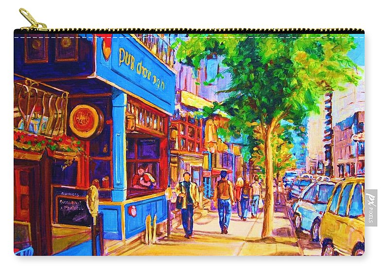 Irish Pub On Crescent Street Montreal Street Scenes Carry-all Pouch featuring the painting Irish Pub On Crescent Street by Carole Spandau