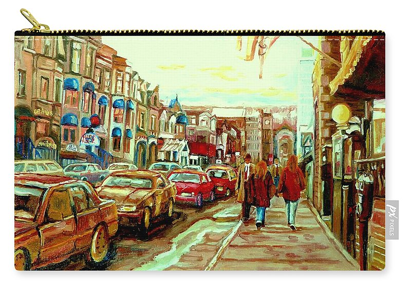 Irish Pubs And Bistros Downtown Montreal Carry-all Pouch featuring the painting Irish Pubs And Bistros Downtown Montreal by Carole Spandau