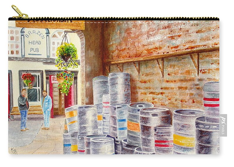 Kegs Carry-all Pouch featuring the painting Irish Suds by Karen Fleschler