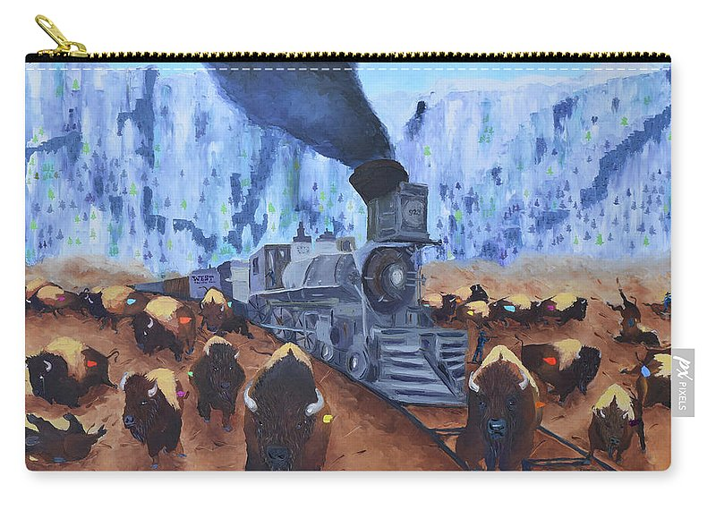 Oil On Canvas By Arturo Garcia Carry-all Pouch featuring the painting Iron Horse by Arturo Garcia
