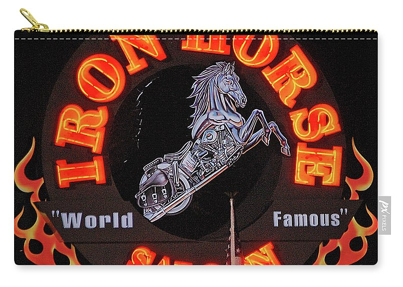 Iron Horse Carry-all Pouch featuring the digital art Iron Horse Saloon In Neon by DigiArt Diaries by Vicky B Fuller