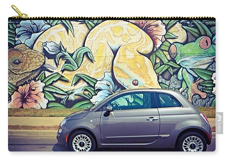 Amazingcars247 Carry-all Pouch featuring the photograph Is It Safe To Drive Mr. #fiat Into The by Austin Tuxedo Cat
