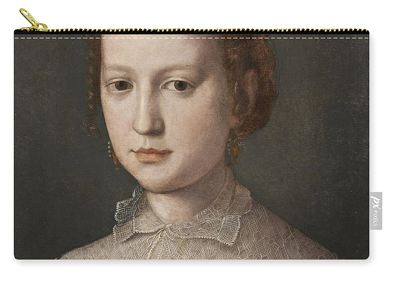 Attributed To Bronzino Carry-all Pouch featuring the painting Isabella De Medici by Attributed to Bronzino