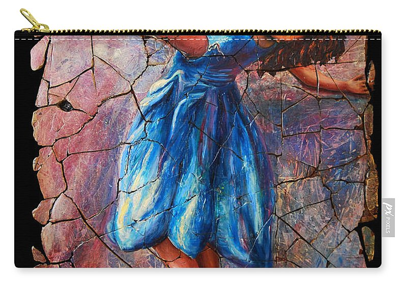 Isadora Duncan Carry-all Pouch featuring the painting Isadora Duncan - 1 by OLena Art Lena Owens