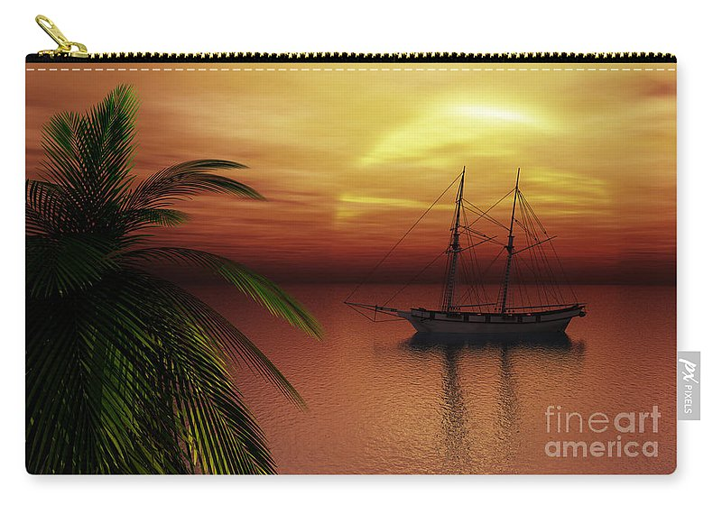 Tropical Carry-all Pouch featuring the digital art Island Explorer by Richard Rizzo