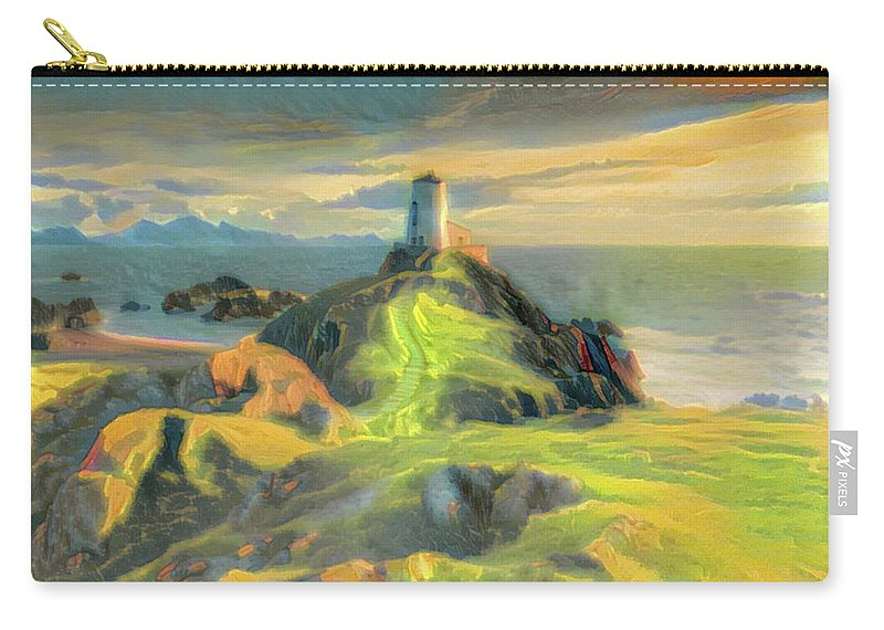 Island Carry-all Pouch featuring the digital art Island Lighthouse by ArtMarketJapan