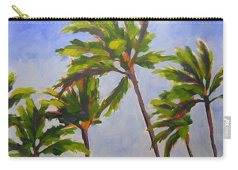 Oil Carry-all Pouch featuring the painting Island Palms by Mary McInnis