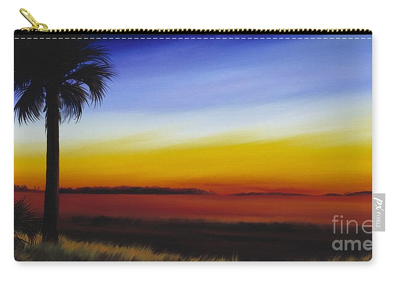 Palmetto Tree Carry-all Pouch featuring the painting Island River Palmetto by James Christopher Hill