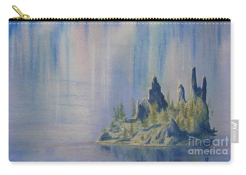 Island Carry-all Pouch featuring the painting Isle Of Reflection by Lynn Quinn