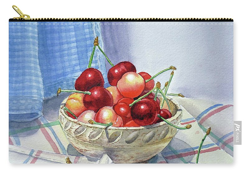 Cherries Carry-all Pouch featuring the painting It Is Raining Cherries by Irina Sztukowski