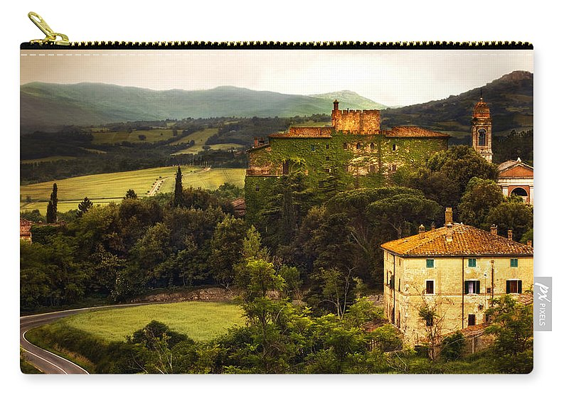 Italy Carry-all Pouch featuring the photograph Italian Castle And Landscape by Marilyn Hunt