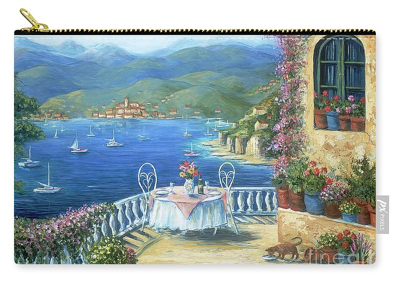 Cat Carry-all Pouch featuring the painting Italian Lunch On The Terrace by Marilyn Dunlap