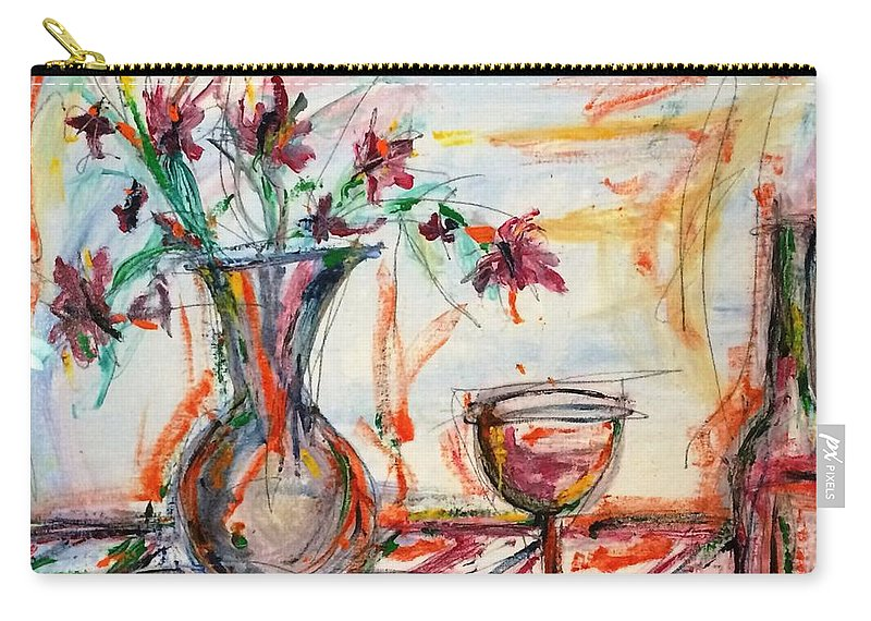 Italian Wine Carry-all Pouch featuring the painting Italian Wine And Flower Vase On Table by Louis Dore