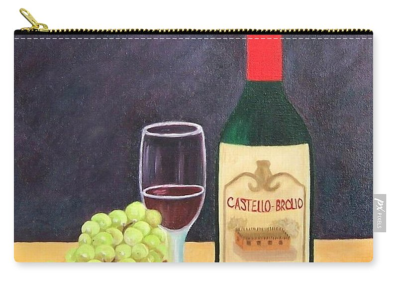 Still Life Carry-all Pouch featuring the painting Italian Wine And Fruit by Ruth Housley