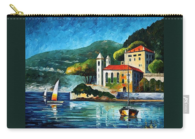 Afremov Carry-all Pouch featuring the painting Italy Lake Como Villa Balbianello by Leonid Afremov