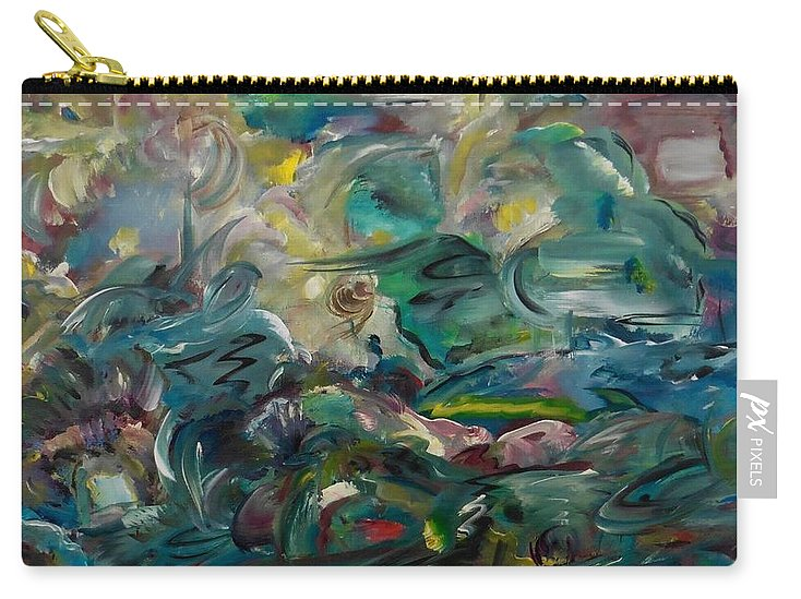 Abstract Carry-all Pouch featuring the painting Charming Chasms Series It's A Jungle by Sara Credito