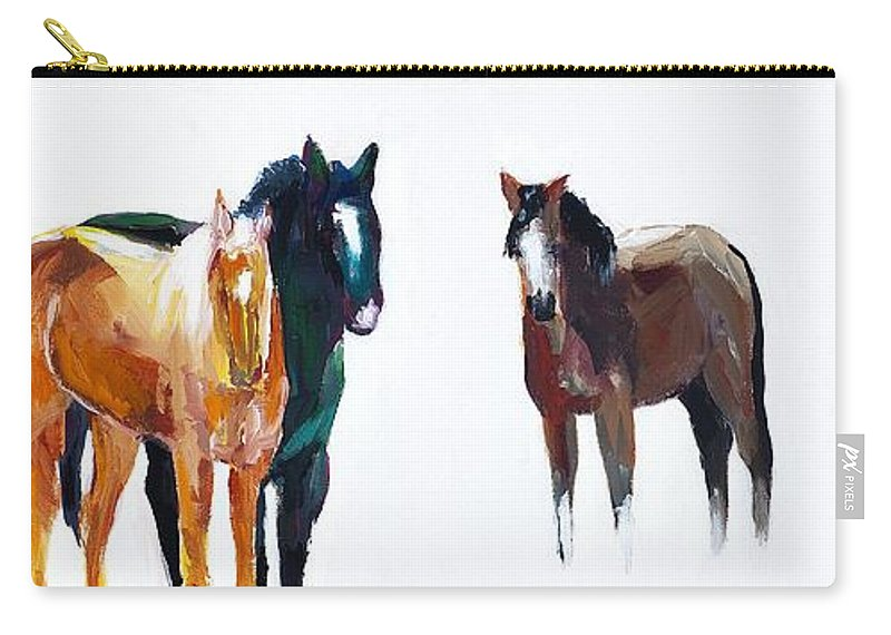 Horses Carry-all Pouch featuring the painting It's All About The Horses by Frances Marino